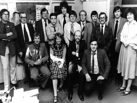 A young Jeremy Clarkson (centre, backlo) during his days in the newsroom. Picture courtesy of Rotherham Advertiser.